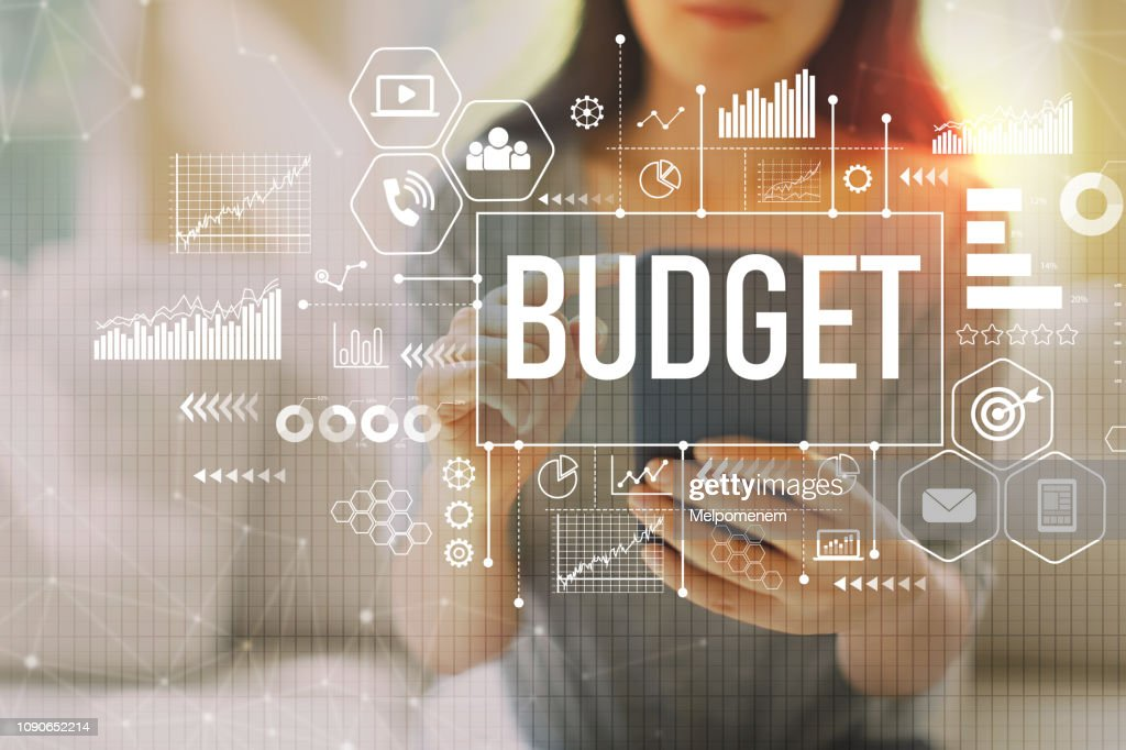 Budget with woman using a smartphone : Stock Photo