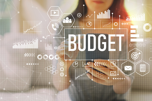 Budget with woman using a smartphone 1090652214