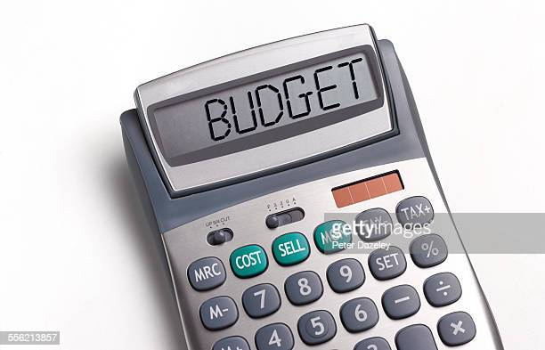 budget written on a calculator - budget stock pictures, royalty-free photos & images