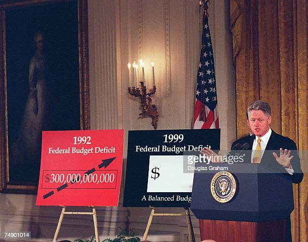 BUDGETPresident Clinton speaking from the East Room of the White House announces his proposed balanced Federal budget