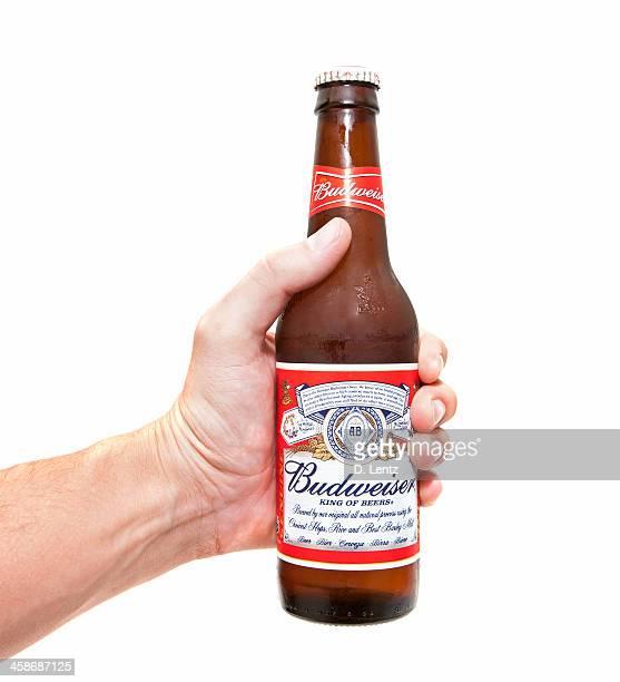 botella de cerveza budweiser en mano - aferrarse fotografías e imágenes de stock