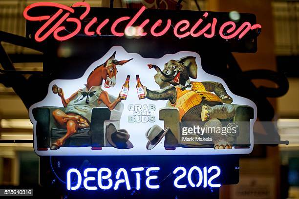 A Budweiser Beer neon advertisement features a Democrat donkey and Repubican elephant at Centre College the setting for the Vice Presidential Debate...