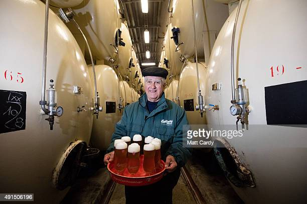 Budweiser Budvar beer that has been brewed is poured for tasting in the cellar of the Budweiser Budvar brewery on September 25 2015 in Ceske...