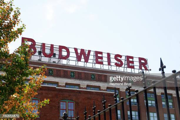 Budweiser sign at AnhueserBusch Brewery in St Louis Missouri on AUGUST 05 2012