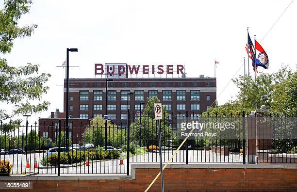 Budweiser sign at Anhueser-Busch Brewery, in St. Louis, Missouri on AUGUST 05, 2012.