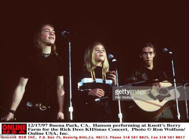 Buena Park CA Hanson performing at Knotts Berry Farm for the Rick Dees KIISmas Concert Taylor Zachary Isaac