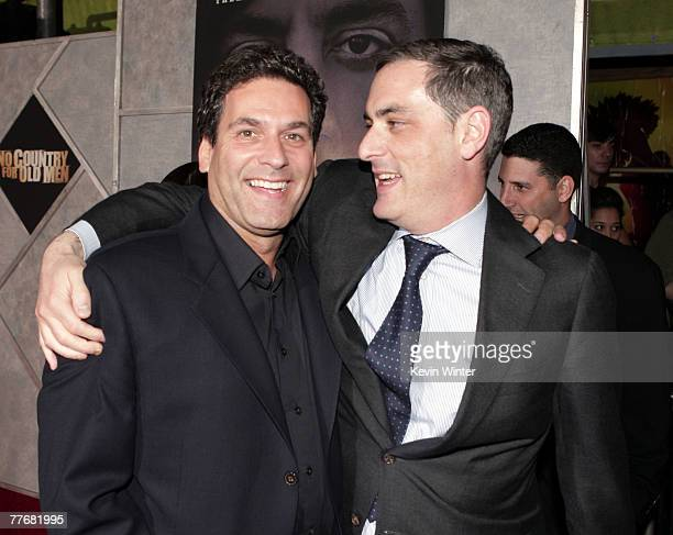 Buena Vista Pictures' Oren Aviv and Paramount Vantages' John Lesher pose at the premiere of Miramax Films' 'No Country for Old Men' at the El Capitan...