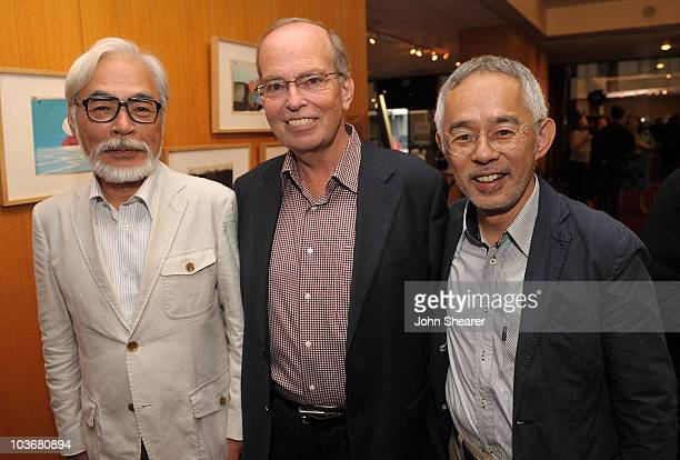 Buena Vista Pictures VP of Marketing Brett Dicker poses with Japanese film maker Hayao Miyazaki and producer Toshio Suzuki at the AMPAS' 14th Annual...