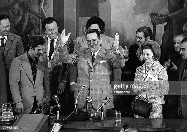 Buenos Aires Argentina 13th August 1973 Former Argentinian President Juan Peron is pictured with his third wife Maria Estella at a Presidential...