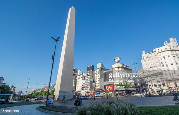 Buenos Aires Argentina 9 de Julio Avenue the widest street in the world with traffic at Corrientes Street with Obelisco and billboards