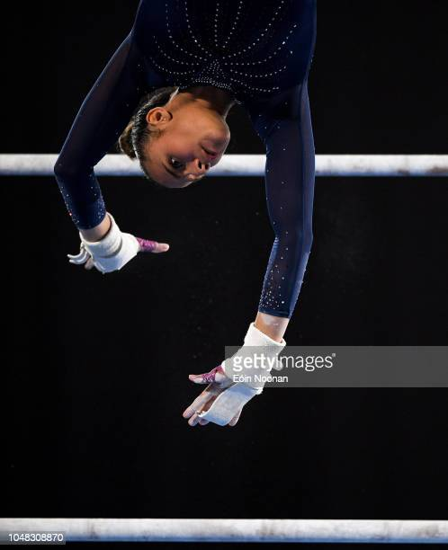 Buenos Aires Argentina 9 October 2018 Amelie Morgan of Team Great Britan in competing in the Uneven Bars event at Youth Olympic Park on Day 3 of the...