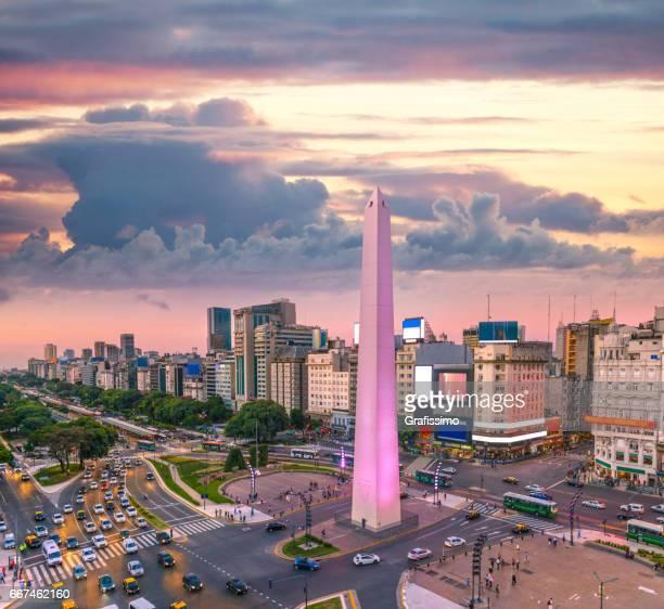 Buenos Aires Argentinië centrum spitsuur zonsondergang