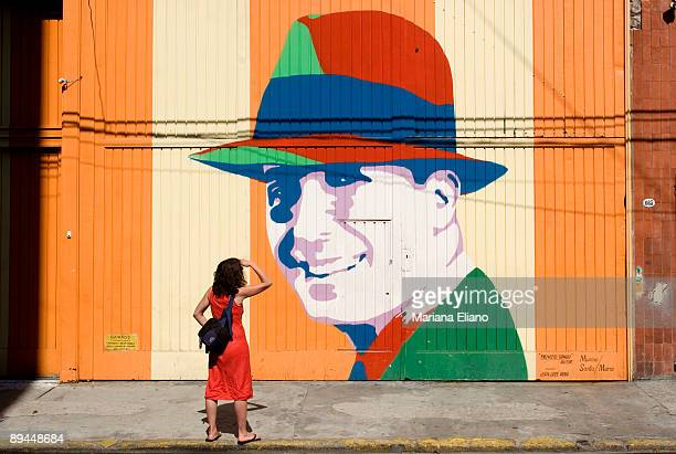 Buenos Aires Argentina Graffiti with the image of Carlos Gardel Abasto Neighborhood