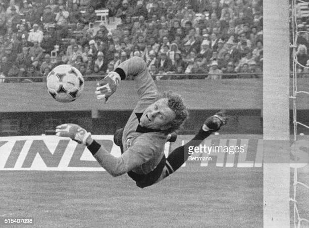 Buenos Aires, Argentina: Italy vs. Germany. German goalie Sepp Maier makes spectacular dive for ball during 1978 Football World Cup second final...