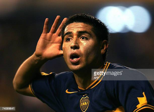 Juan Roman Riquelme of Boca Juniors team celebrates after scoring against Velez Sarsfield during the Libertadores Cup footbal match at La Bombonera...