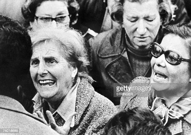 Members of the Madres de Plaza de Mayo human rights organization march claiming for their missing sons and daughters in Buenos Aires 25 May 1978 The...
