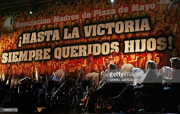 Members of the Madres de Plaza de Mayo Argentine human rights organization sit on the stage 30 April 2007 in Plaza de Mayo in Buenos Aires during the...