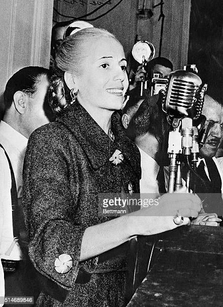 5/8/1952 Buenos Aires Argentina Mrs Eva Peron closeup speaking to workers