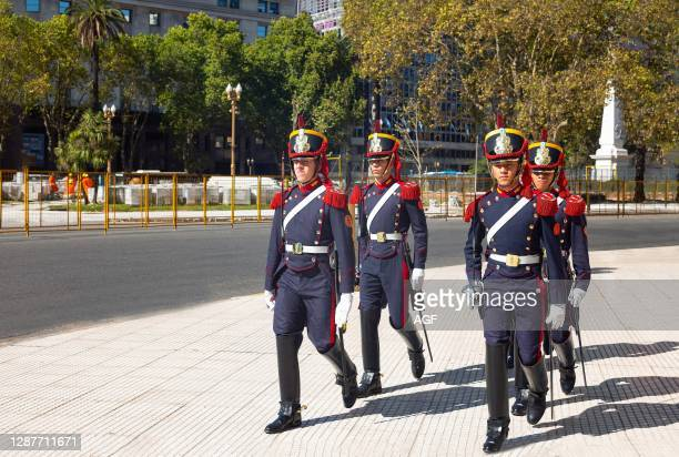 Buenos Aires. Argentina. Soldiers marching in the Plaza De Mayo. In front of the Casa Rosada palace.