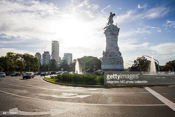 Buenos Aires city street and monument, Argentina