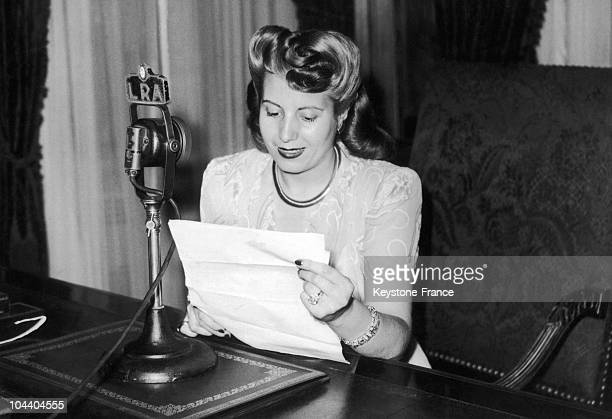 Buenos Aires Dona Maria Eva Duarte PERON wife of the Argentinian President is being broadcasted in the radio talking on behalf of Argentinian women...