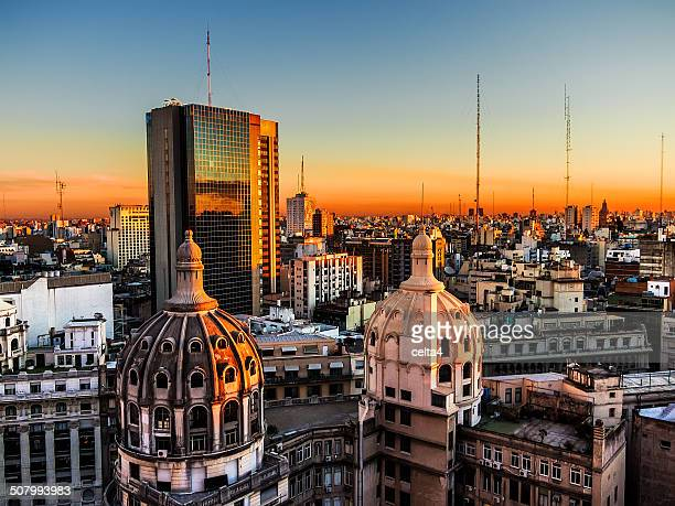 Buenos Aires downtown at sunset