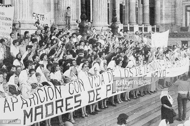 """Buenos Aires: Hundreds of women whose children disappeared during the armed forces' """"dirty war"""" against terrorism march from Congress to the palace..."""