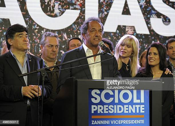Buenos Aires province governor and presidential candidate for the Frente Para la Victoria Daniel Scioli admits his defeat to his rival the Head of...
