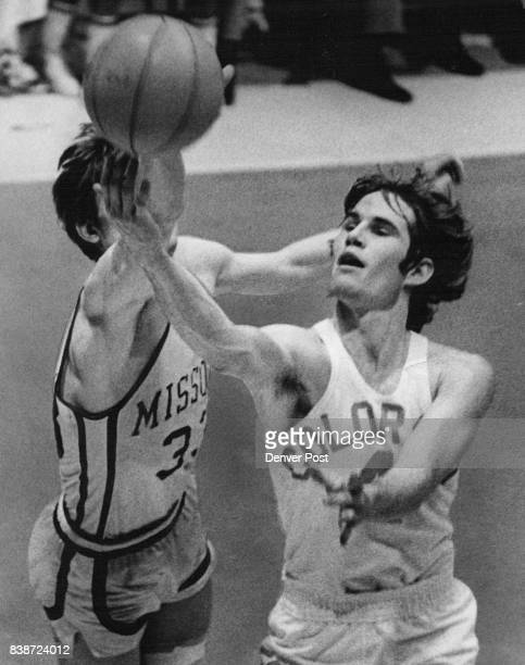 Buff Guard Displays Fingertip Control as he gets off Shot Colorado's Pat Kelly lays up a shot as Missouri's Steve Blind tries for block Buffs upset...