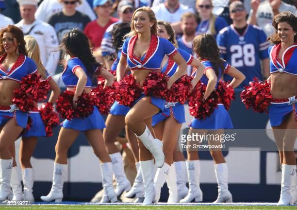 Buffalo Bills cheerleaders the Jills dance during an NFL game against the Kansas City Chiefs at Ralph Wilson Stadium on September 16 2012 in Orchard...