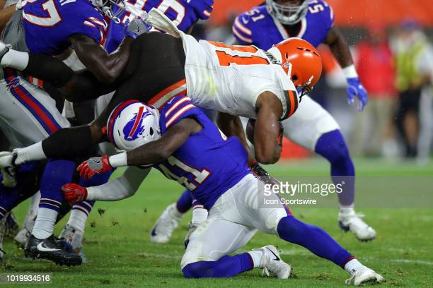 Buffalo Bills cornerback Breon Borders tackles Cleveland Browns running back Nick Chubb during the fourth quarter of the National Football League...