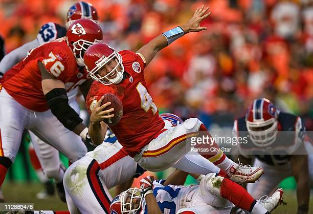Buffalo Bills cornerback George Wilson sacks Kansas City Chiefs quarterback Tyler Thigpen at Arrowhead Stadium in Kansas City Missouri on Sunday...