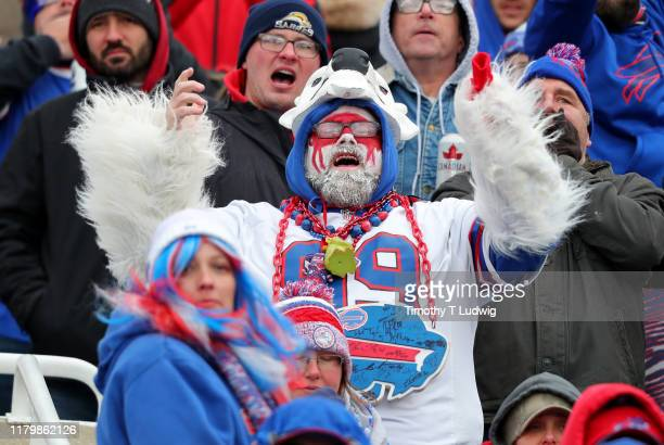 Buffalo Bills fan cheers on his team during the second half against the Washington Redskins at New Era Field on November 3 2019 in Orchard Park New...
