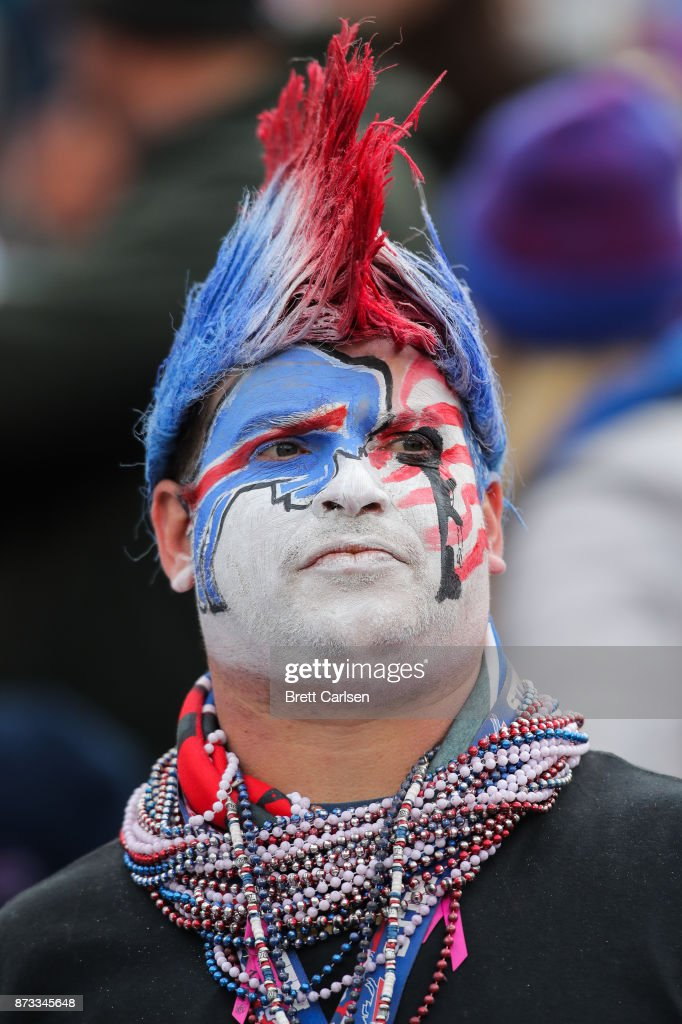 A Buffalo Bills fan reacts during the third quarter against the New Orleans Saints on November 12, 2017 at New Era Field in Orchard Park, New York.