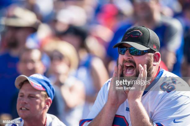 Buffalo Bills fan yells at referees during the first half of the game against the Denver Broncos on September 24, 2017 at New Era Field in Orchard...