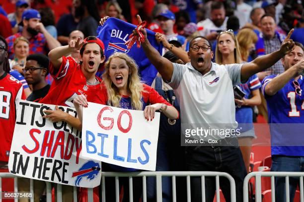 Buffalo Bills fans celebrate after their teams victory against the Atlanta Falcons at MercedesBenz Stadium on October 1 2017 in Atlanta Georgia
