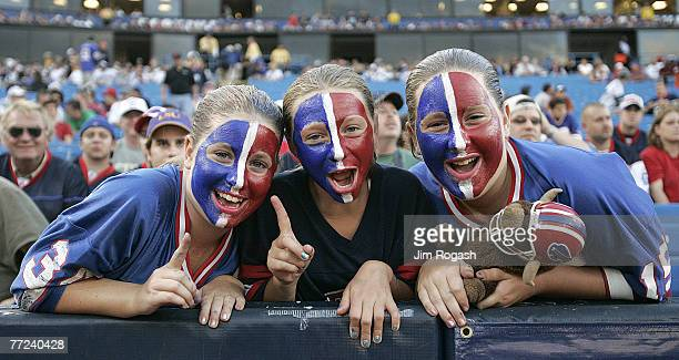 Buffalo Bills fans cheer before a preseason game with the Detroit Lions is injured during a preseason game at Ralph Wilson Stadium Orchard Park New...