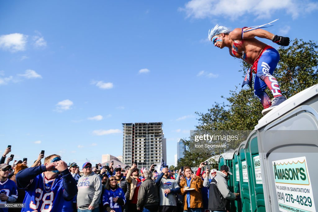 Buffalo Bills fans tailgate during the AFC Wild Card game between the Buffalo Bills and the Jacksonville Jaguars on January 7, 2018 at EverBank Field in Jacksonville, Fl.