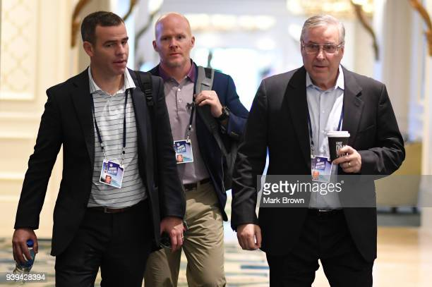 Buffalo Bills General Manager Brandon Beane head coach Sean McDermott and owner Terry Pegula leave the final meetings at the 2018 NFL Annual Meetings...