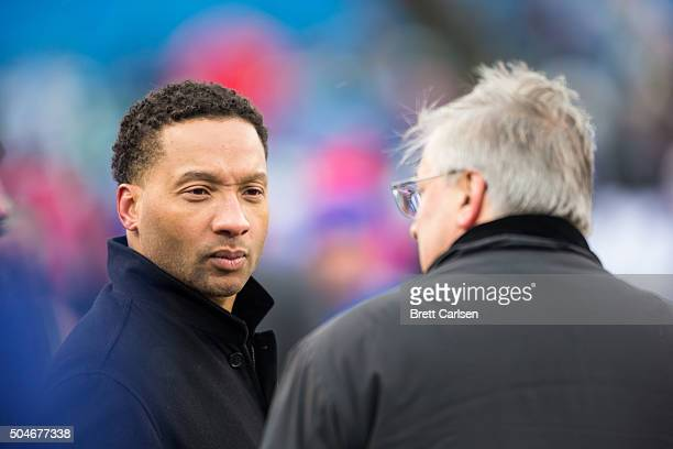 Buffalo Bills general manager Doug Whaley talks to Buffalo Bills owner Terry Pegula beforethe first half against the New York Jets at Ralph Wilson...
