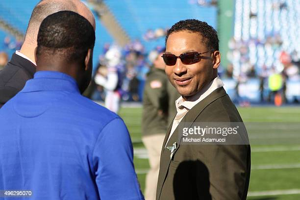 Buffalo Bills General Manager Doug Whaley walks the sidelines before the game against the Miami Dolphins at Ralph Wilson Stadium on November 8 2015...