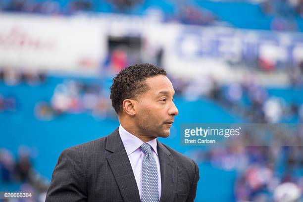 Buffalo Bills general manager Doug Whaley watches warm ups before the game between the Buffalo Bills and the Jacksonville Jaguars on November 27 2016...