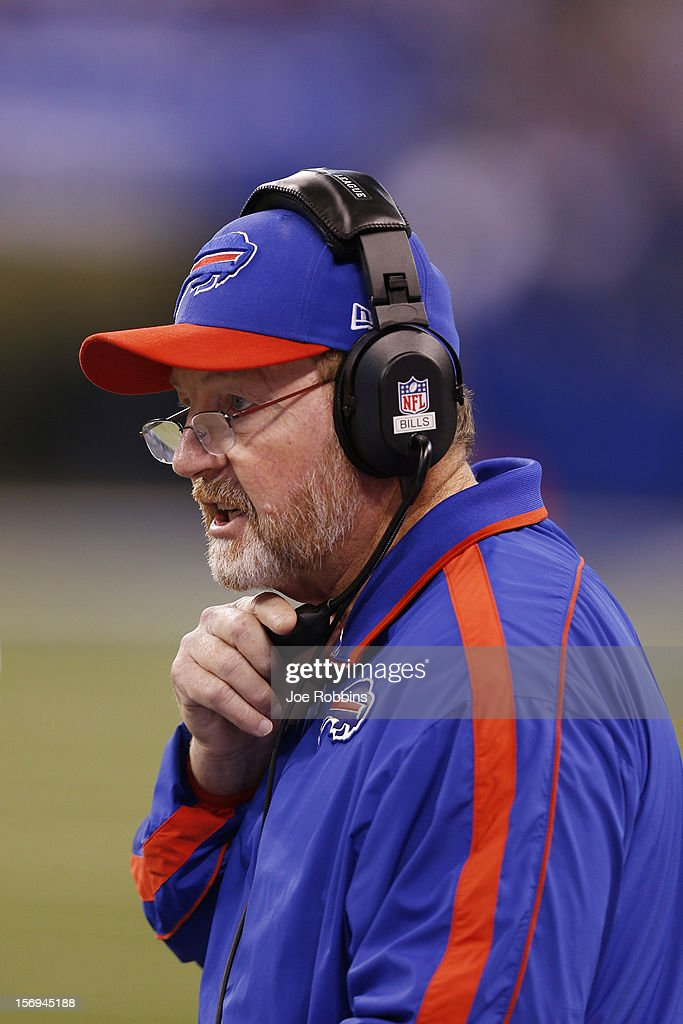 Buffalo Bills head coach Chan Gailey looks on against the Indianapolis Colts during the game at Lucas Oil Stadium on November 25, 2012 in Indianapolis, Indiana. The Colts won 20-13.