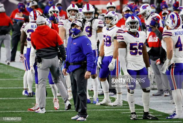 Buffalo Bills head coach Sean McDermott checks out a replay during a game between the New England Patriots and the Buffalo Bills on December 28 at...