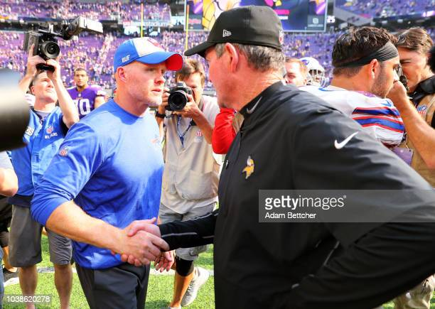 Buffalo Bills head coach Sean McDermott greets Minnesota Vikings head coach Mike Zimmer on the field after the game at US Bank Stadium on September...