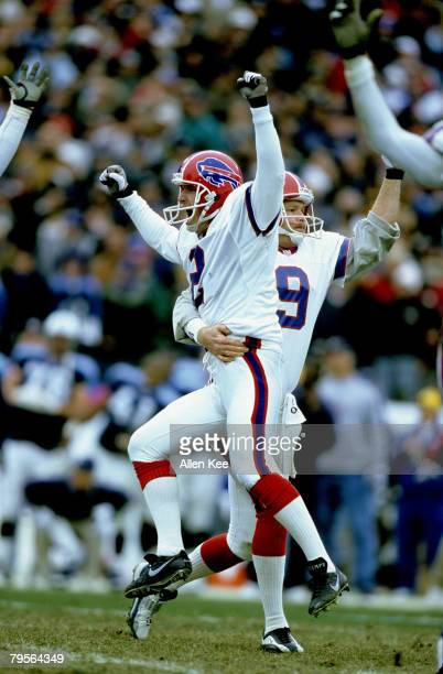 Buffalo Bills kicker Steve Christie celebrate what appeared to be the game-winning field goal with 16 seconds left in the game during the AFC...