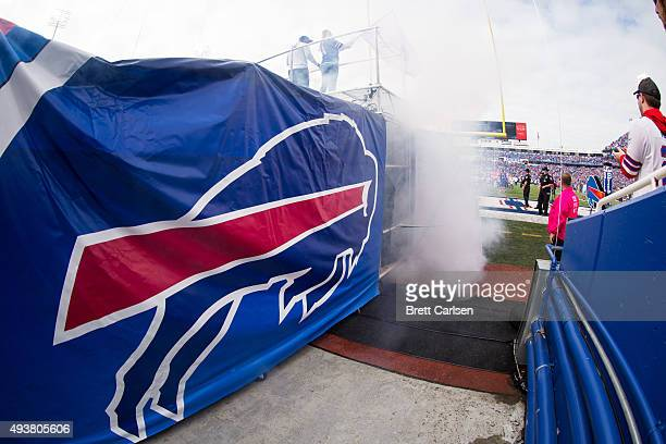 Buffalo Bills logo on the tunnel for player entrances before the game against the New York Giants on October 4 2015 at Ralph Wilson Stadium in...