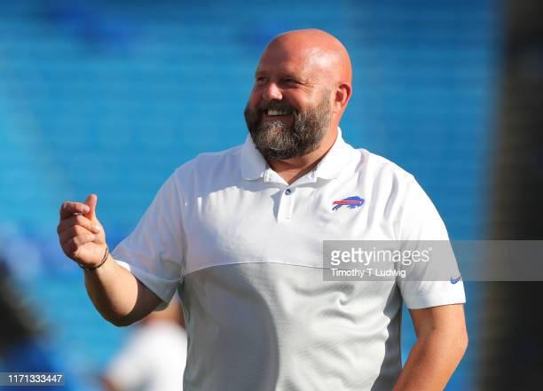 Buffalo Bills offensive coordinator Brian Daboll on the field before a preseason game against the Minnesota Vikings at New Era Field on August 29,...