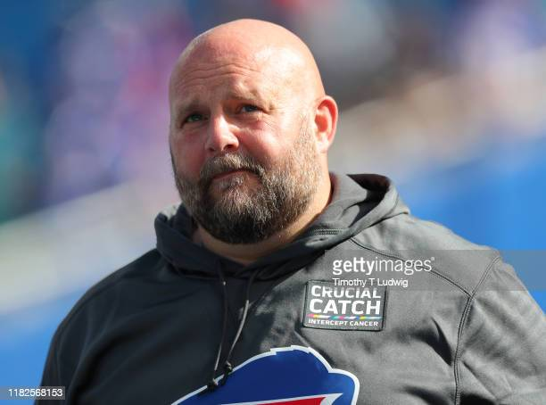 Buffalo Bills offensive coordinator Brian Daboll on the field before a game against the Miami Dolphins at New Era Field on October 20, 2019 in...