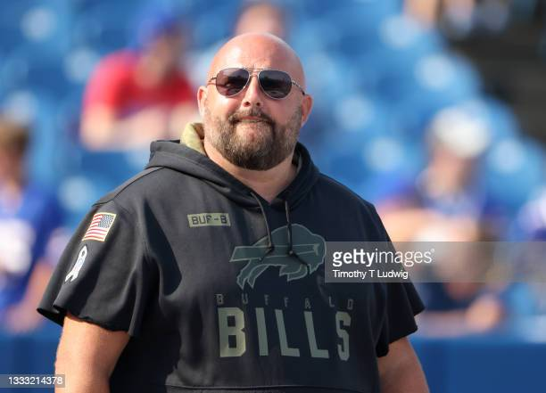 Buffalo Bills offensive coordinator Brian Daboll on the field before training camp at Highmark Stadium on August 7, 2021 in Orchard Park, New York.